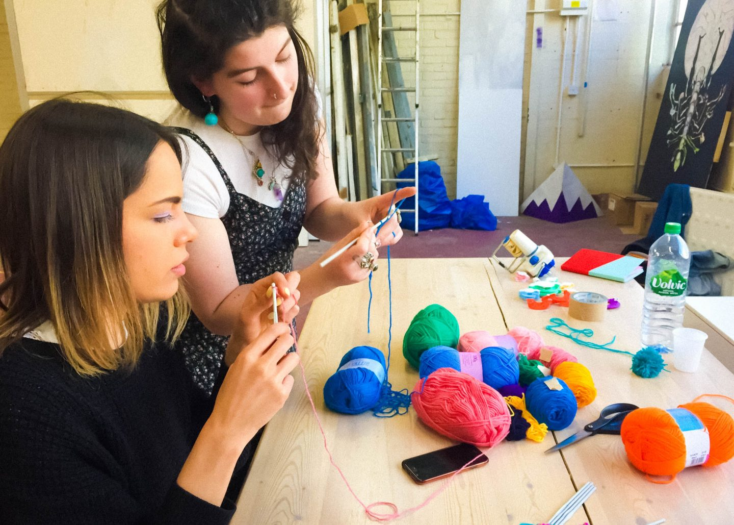 Cathy Van Hear teaching crochet skills for Brainchild festival workshop