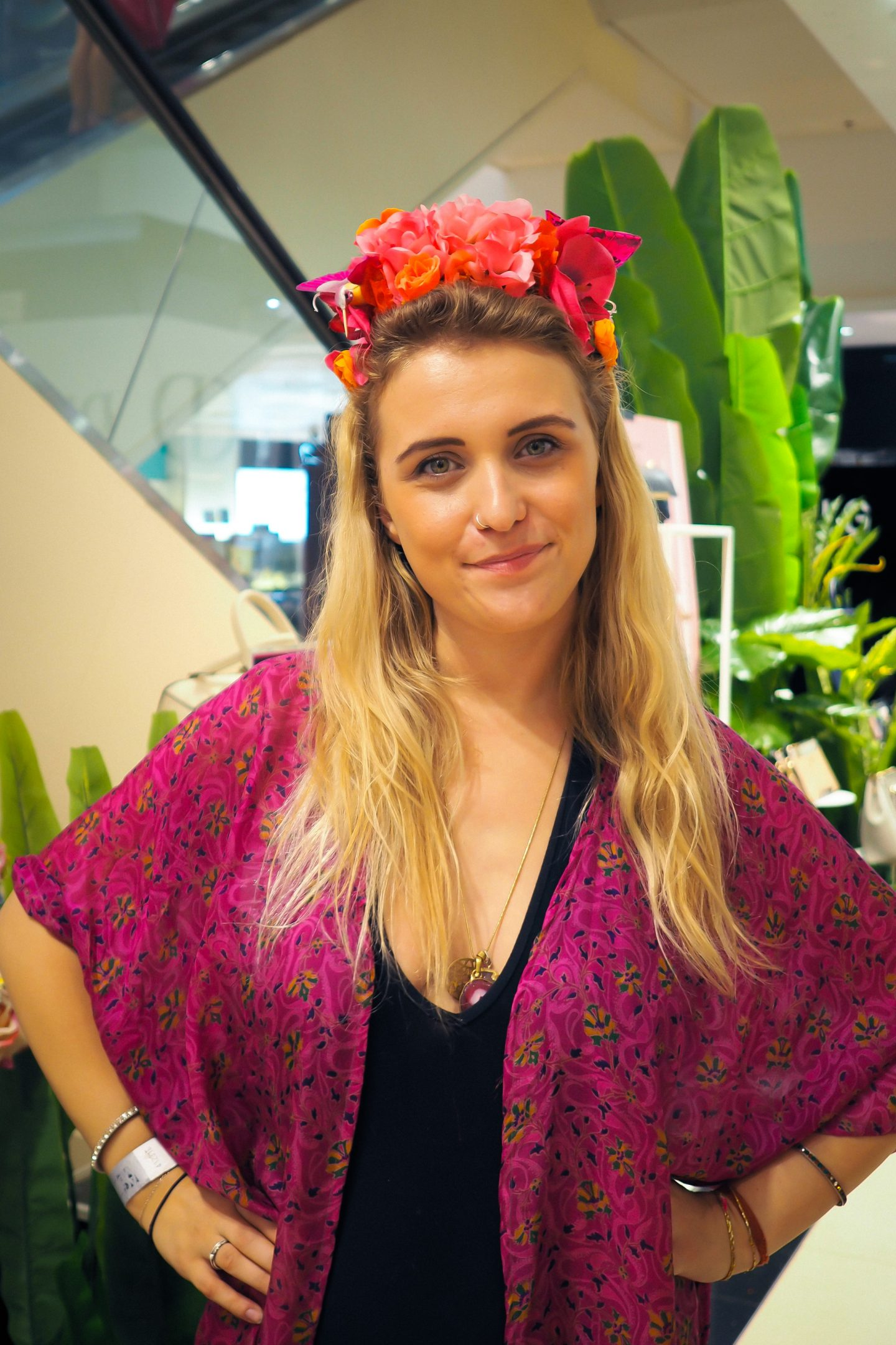 Floral festival headpiece and Dulcie's Feathers silk kimono