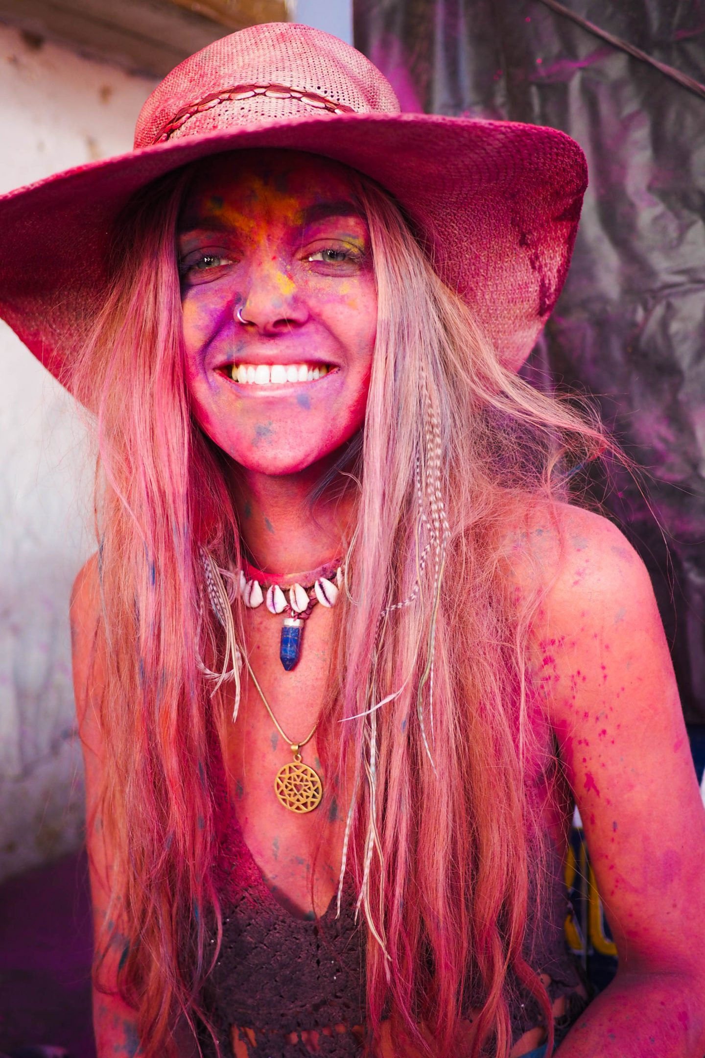 Painted faces portraits at Holi in Pushkar