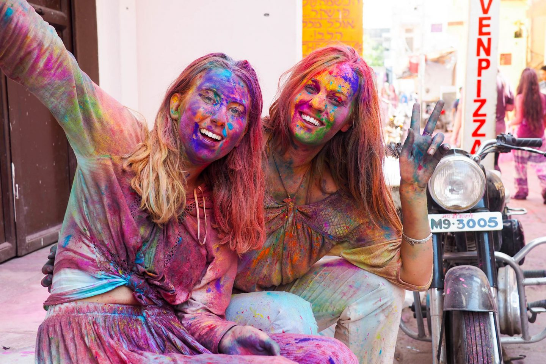 Colourful faces at Holi in Pushkar India