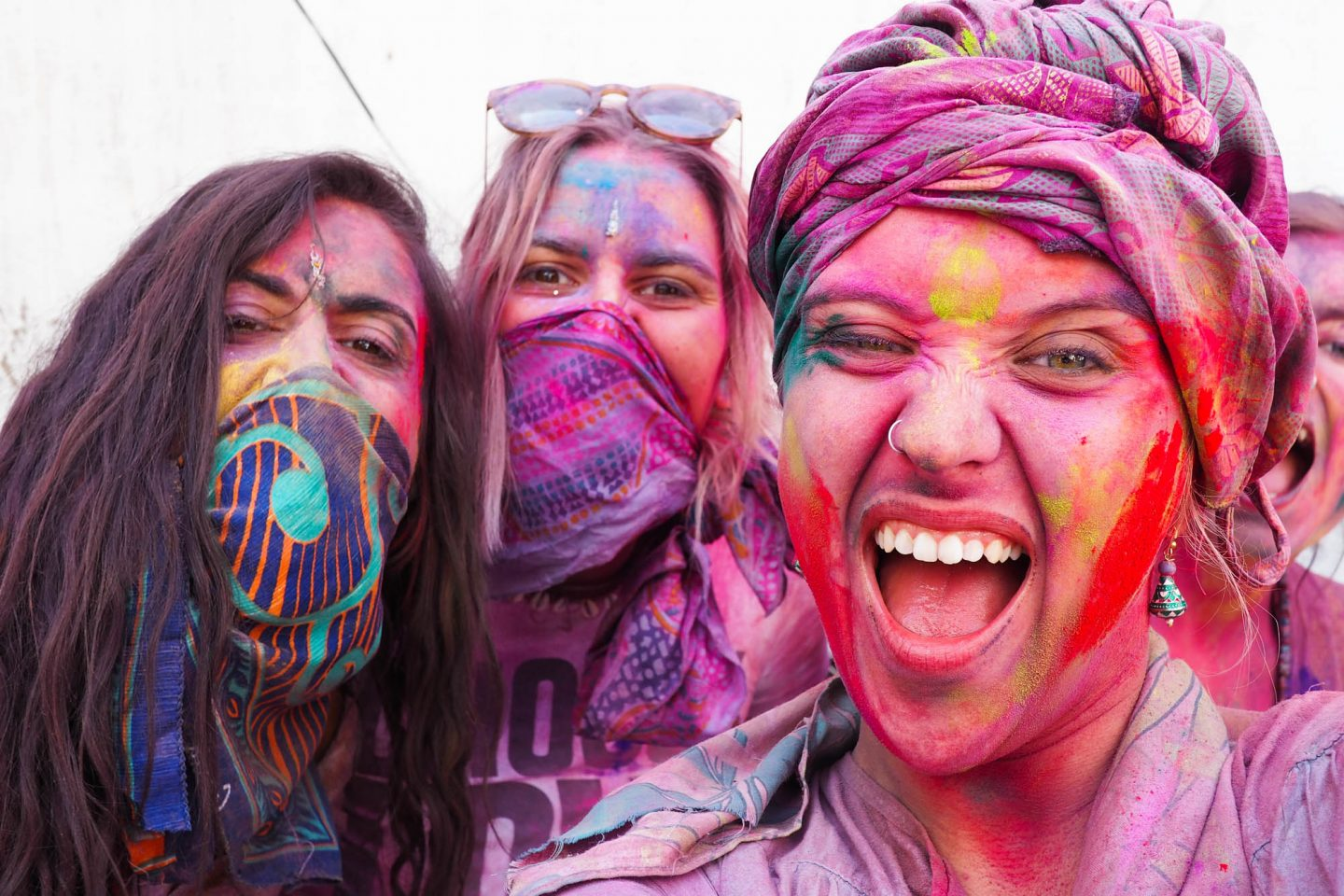Painted faces portraits at Holi in Pushkar Rajasthan