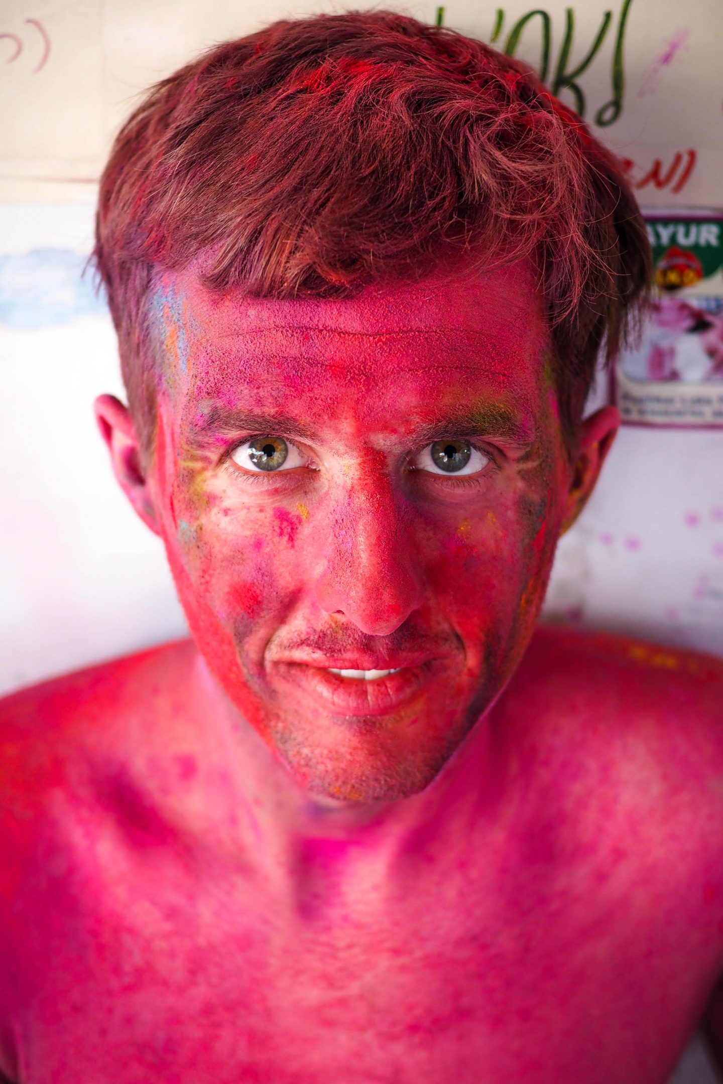 Painted faces portraits at Holi in Pushkar India