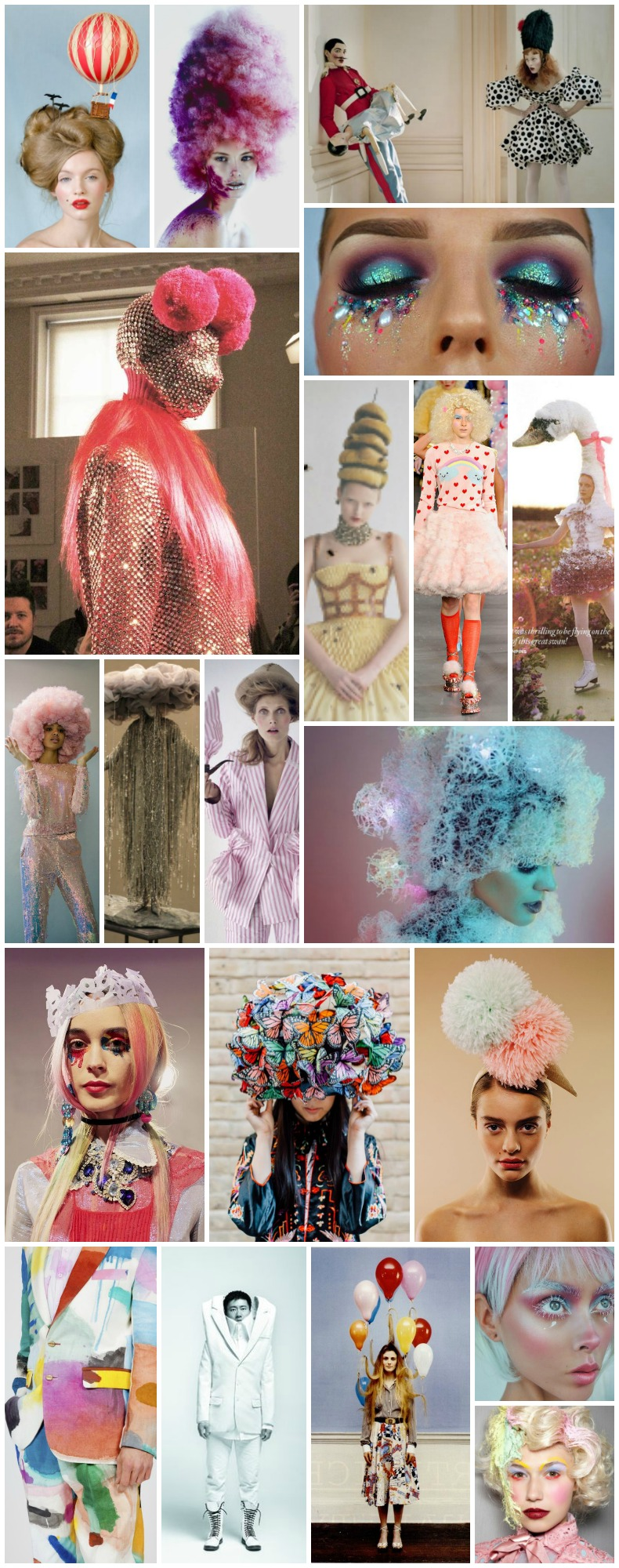"Shambala Cloud Cuckoo Land fancy dress theme inspiration - surrealist fairytale festival costume mood board. ""Cloud cuckoo land refers to a state of absurdly over-optimistic fantasy or an unrealistically idealistic state where everything is perfect"" ""Think dancing cupcakes, candy floss clouds and pure, sugar coated escapism. A month of Sundays at the end of the rainbow, where pigs fly high past blue moons. An all singing, all dancing adventure into utopia."""