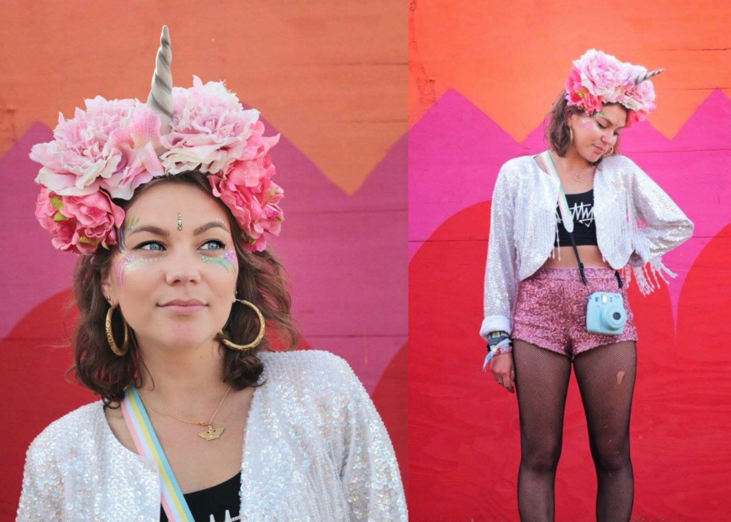 Sequin outfit & pink floral unicorn crown at Shambala festival 2015
