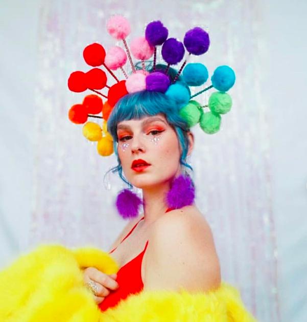 Colourful pom pom headpiece