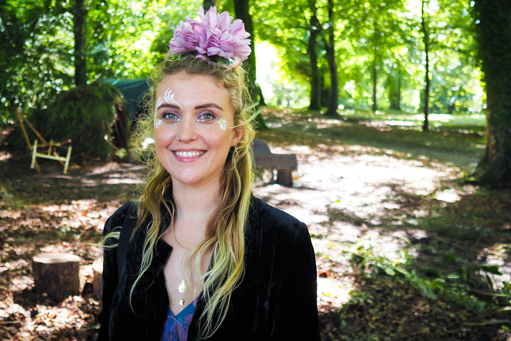ethical festival beauty, eco-friendly cosmetics for festivals, face-painting, Port Eliot forest