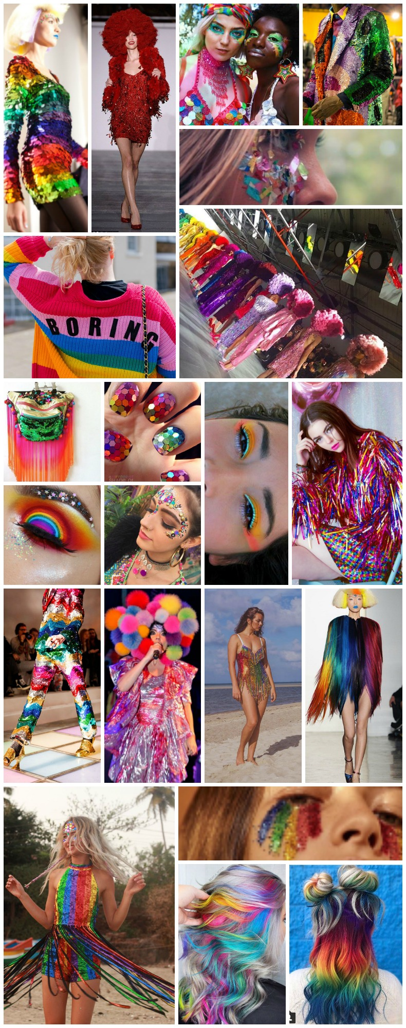 Multi-colour rainbow festival costume fancy dress colourful sequin fashion inspiration and ideas