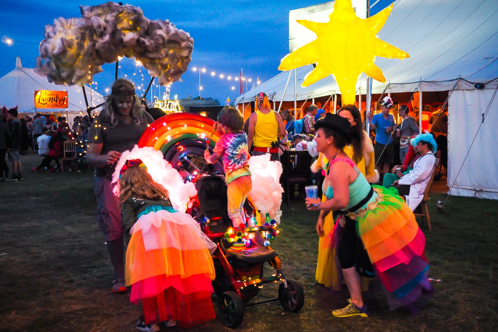 Rainbow family festival costume at Shambala