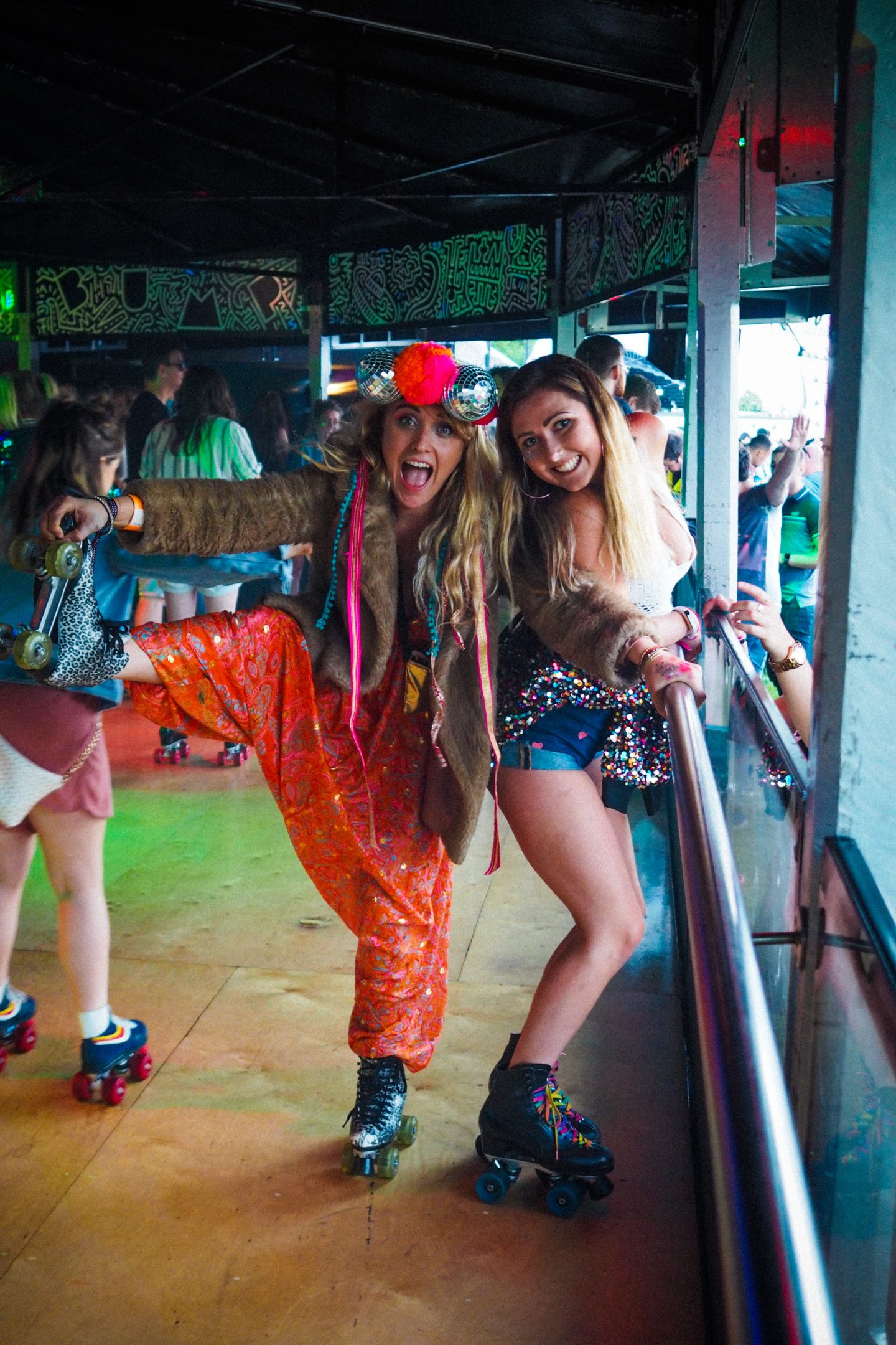 BUMP roller disco Bristol, Love Saves the Day festival , light up leopard pring roller skates, festival style