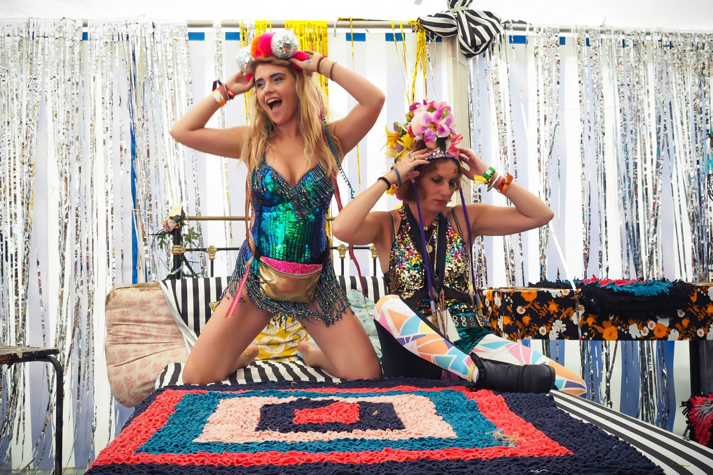 Love Saves the Day Bristol, Lady Jane Bristol mermaid sequin playsuit, Dulcie's Feathers pom-pom disco ball headpiece, Fuud couture, festival style