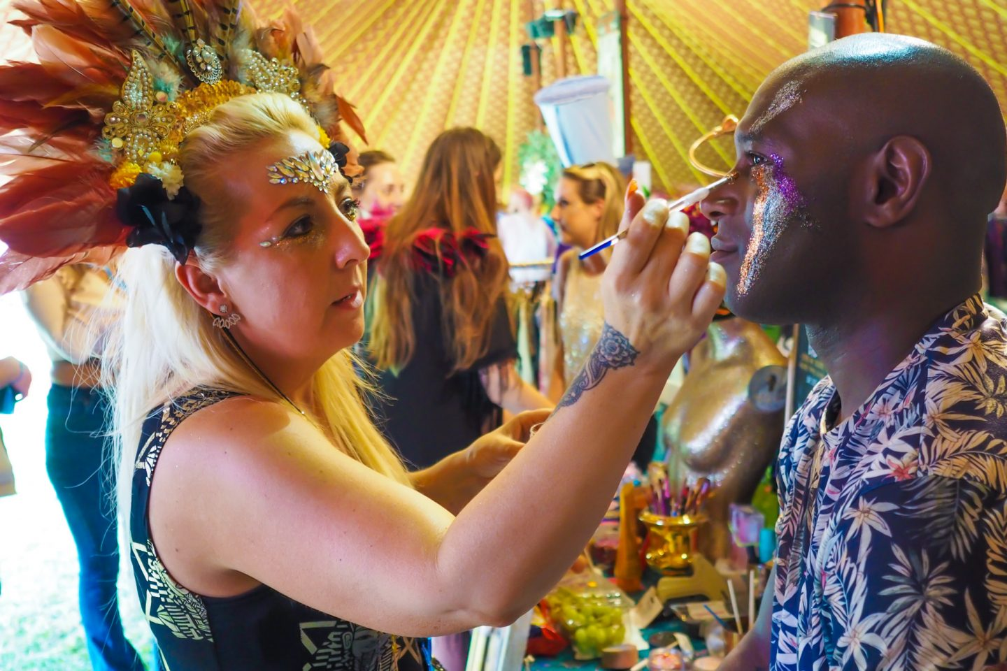 Zoe Zedhead headdress, Gypsy Shrine gems, Fashpack face-painting, Love Saves the Day Bristol