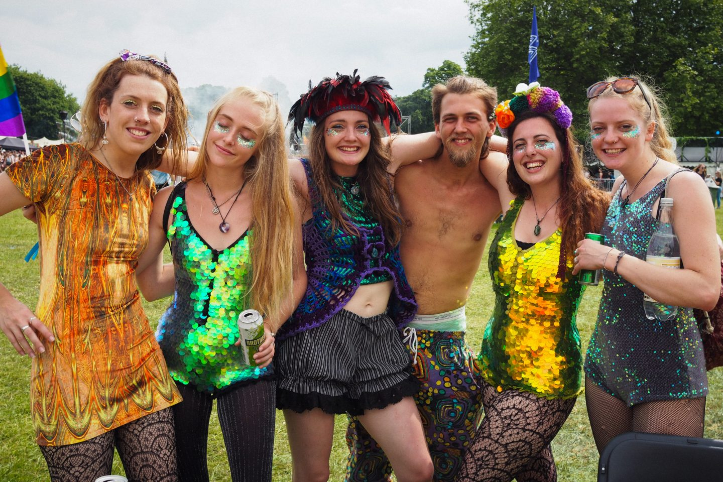 Festival Style, Rosa Bloom sequin playsuits, Dulcie's Feathers headpiece, Love Saves the Day Bristol