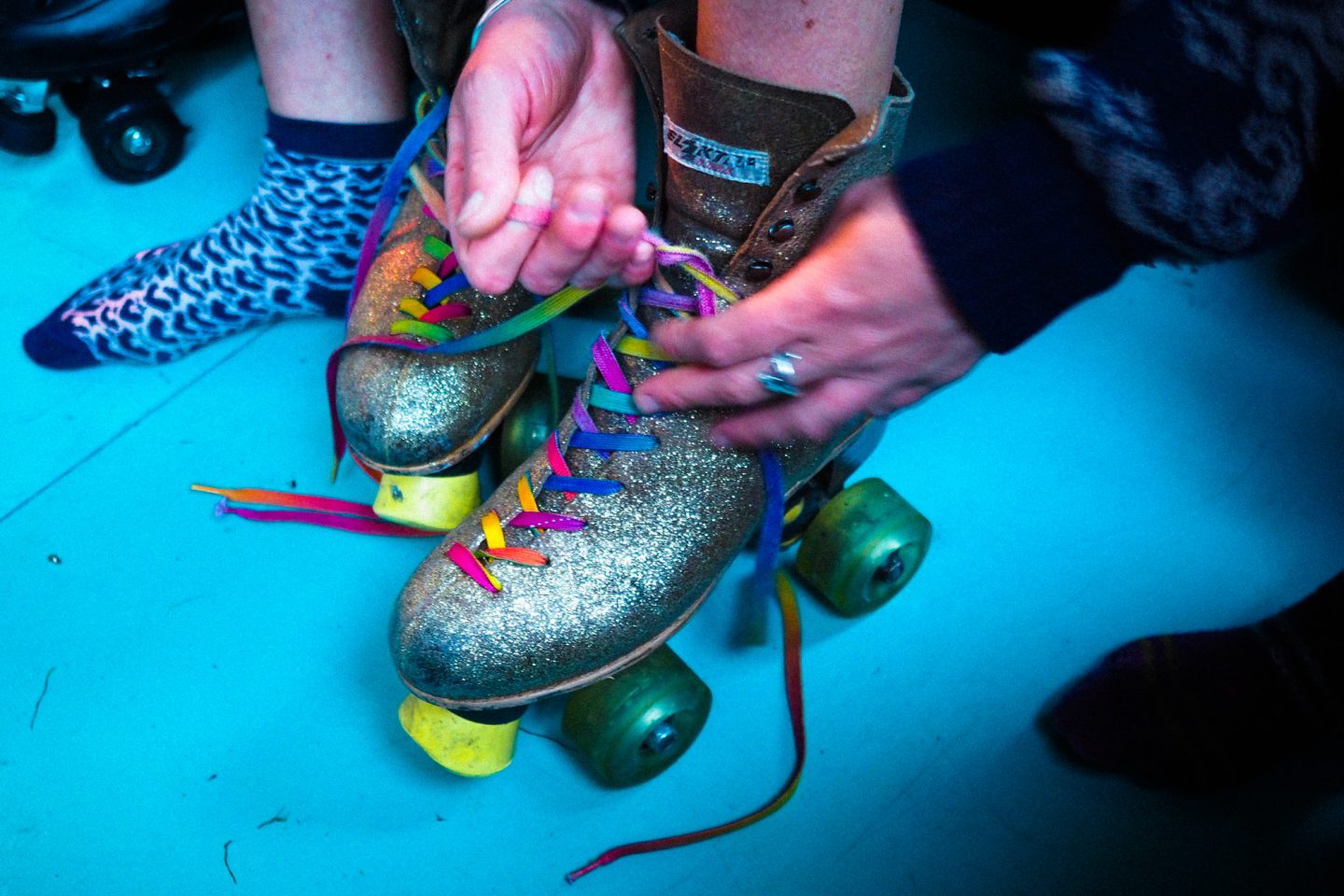 BUMP roller disco Bristol, Love Saves the Day festival, light up roller skates with rainbow laces