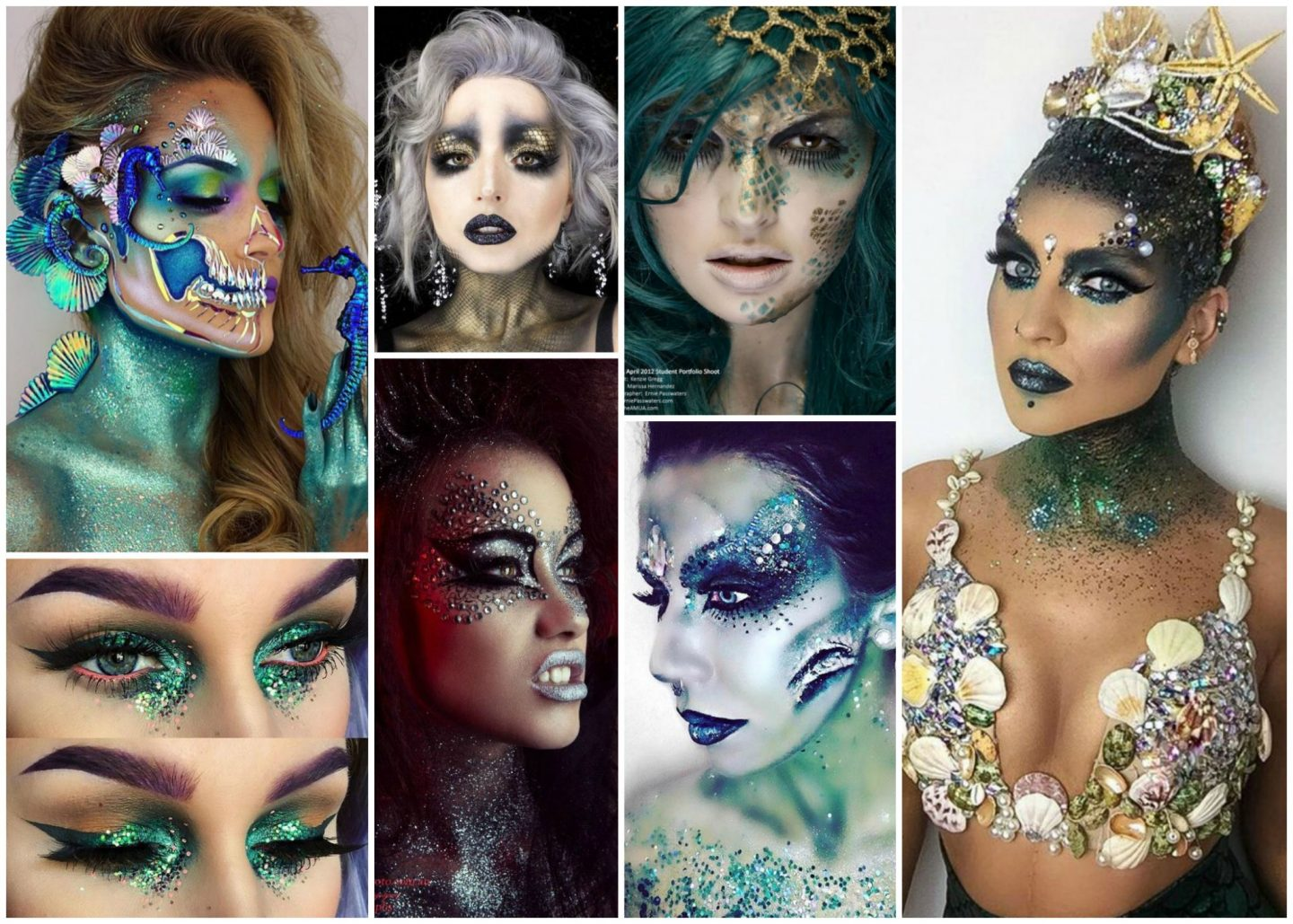 Creepy halloween sparkly glitter mermaid face-paint makeup inspiration costume
