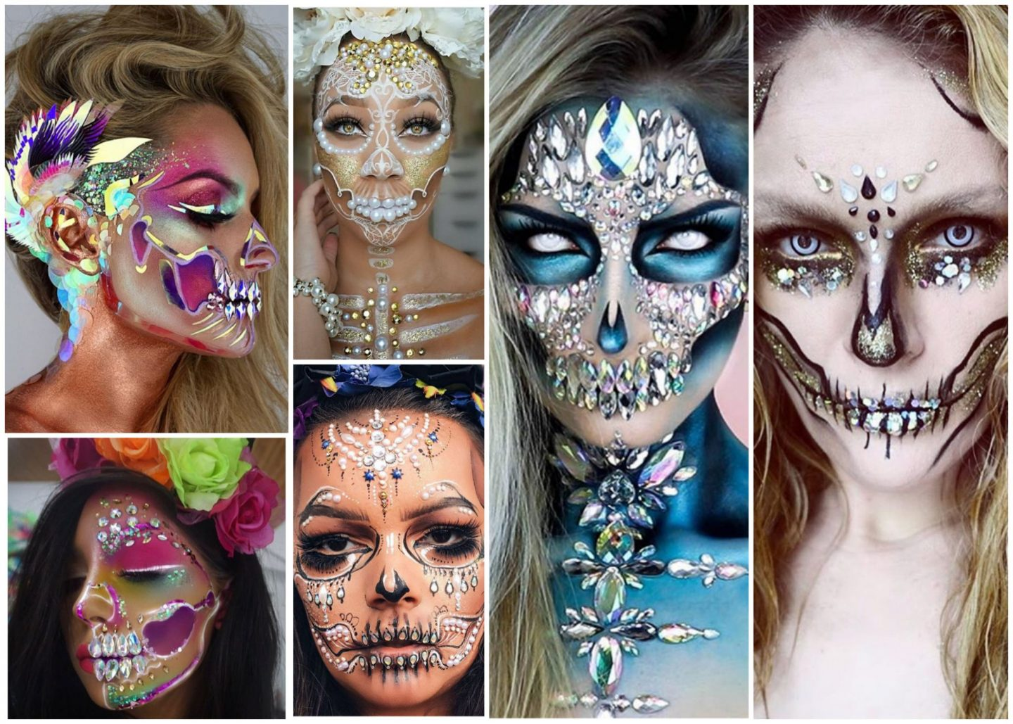 Glitter Sequin Gem, Day of the dead Candy Skull Halloween inspiration
