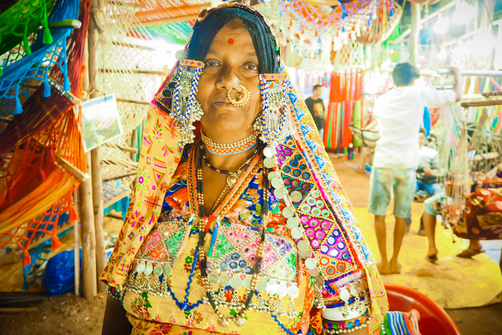 Indian Gypsy lady at Goa Saturday Night Market