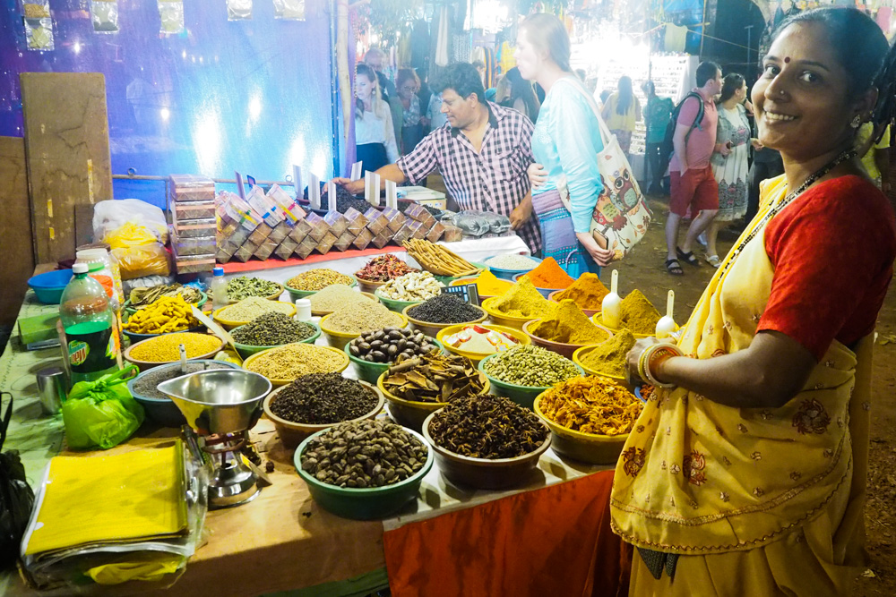 Lady selling spices at Goa Saturday Night Market