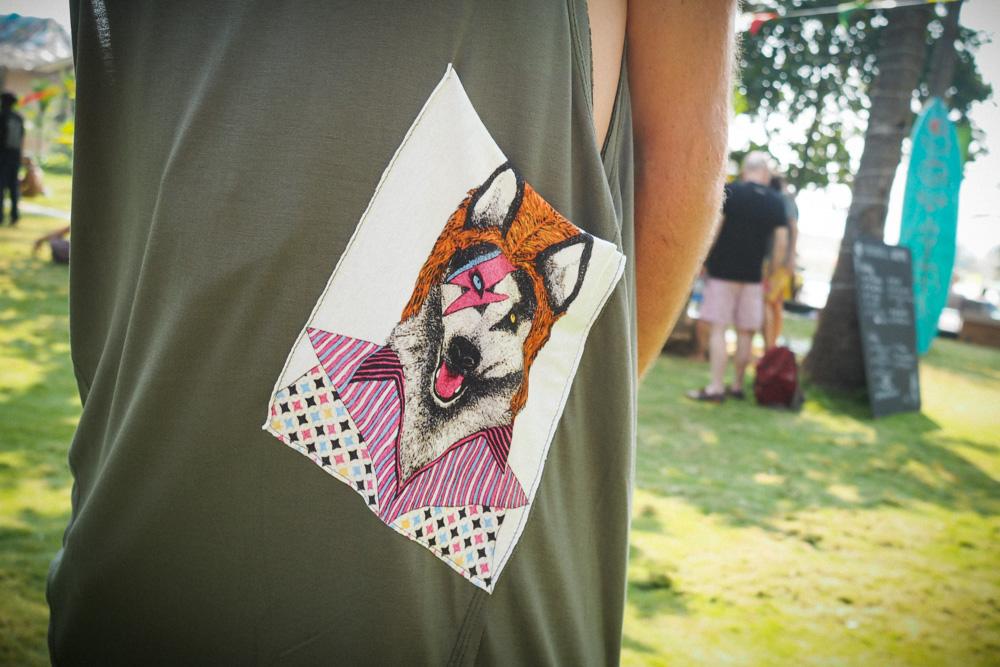 Vest with David Bowie Wolf design applique