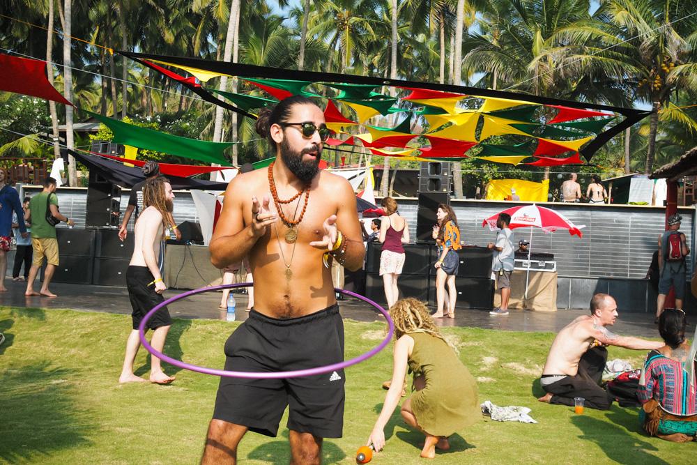 Hula hooping guy at Goa Sunsplash Festival Riva