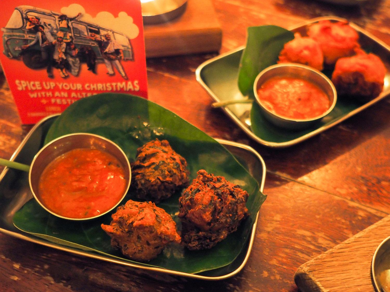 An alternative festive feast Indian christmas Menu Thali restaurant Bristol pakora