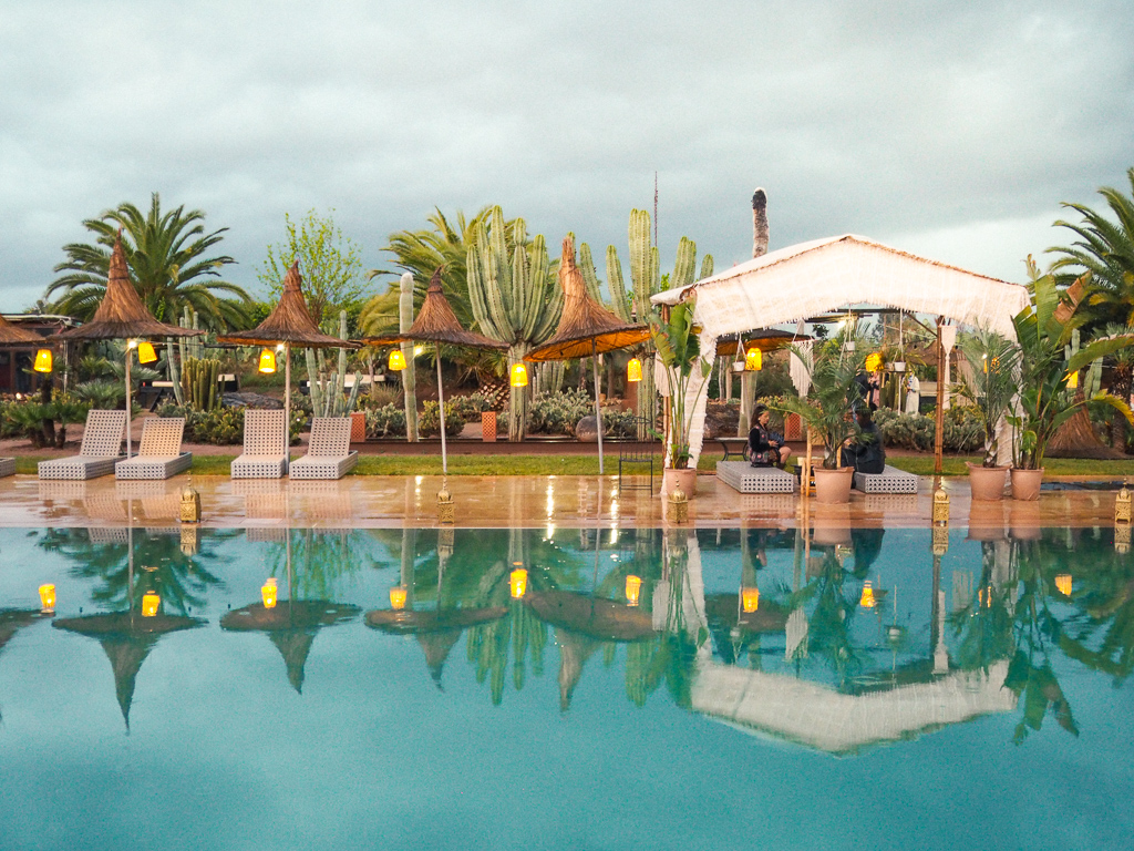 Poolside view at Beat Hotel Festival at the Fellah Hotel Marrakech