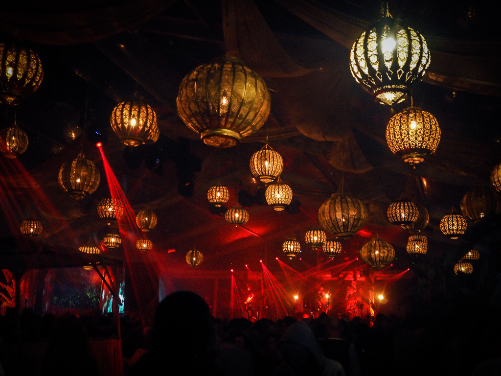Interzone stage decor at Beat Hotel