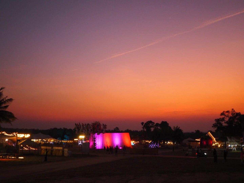 Sunset over Wonderfruit Festival Thailand