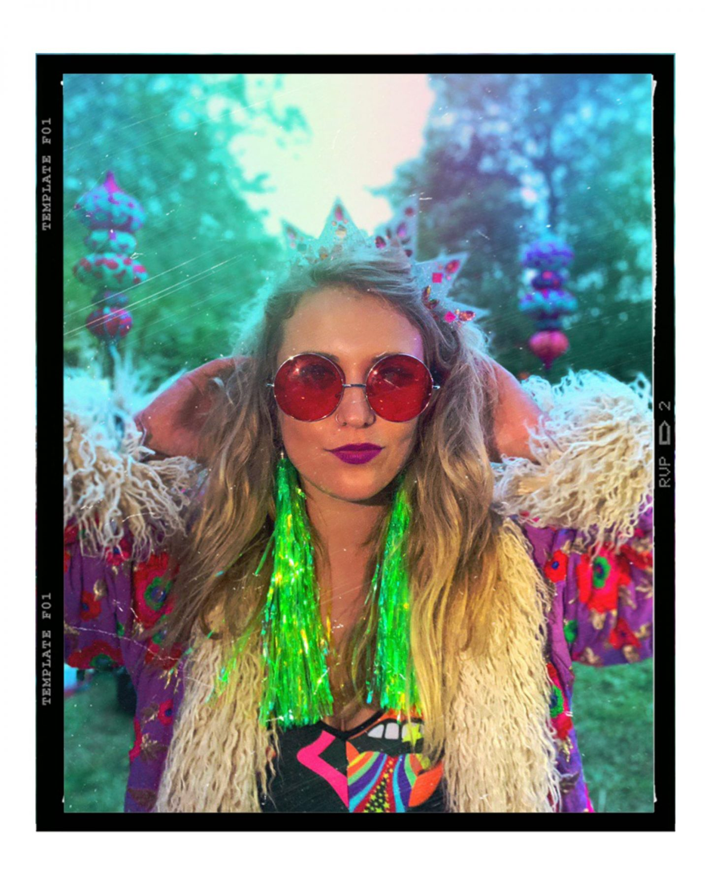 Festival accessories outfit inspiration - Bottle Blonde Studio tinsel earrings, Headspace headdresses crown