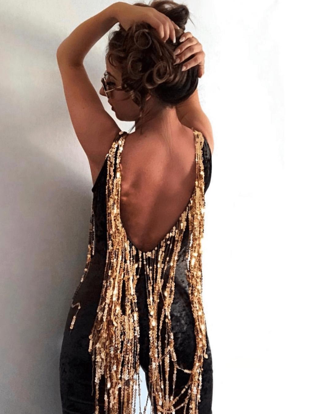 velvet and sequin festival catsuit