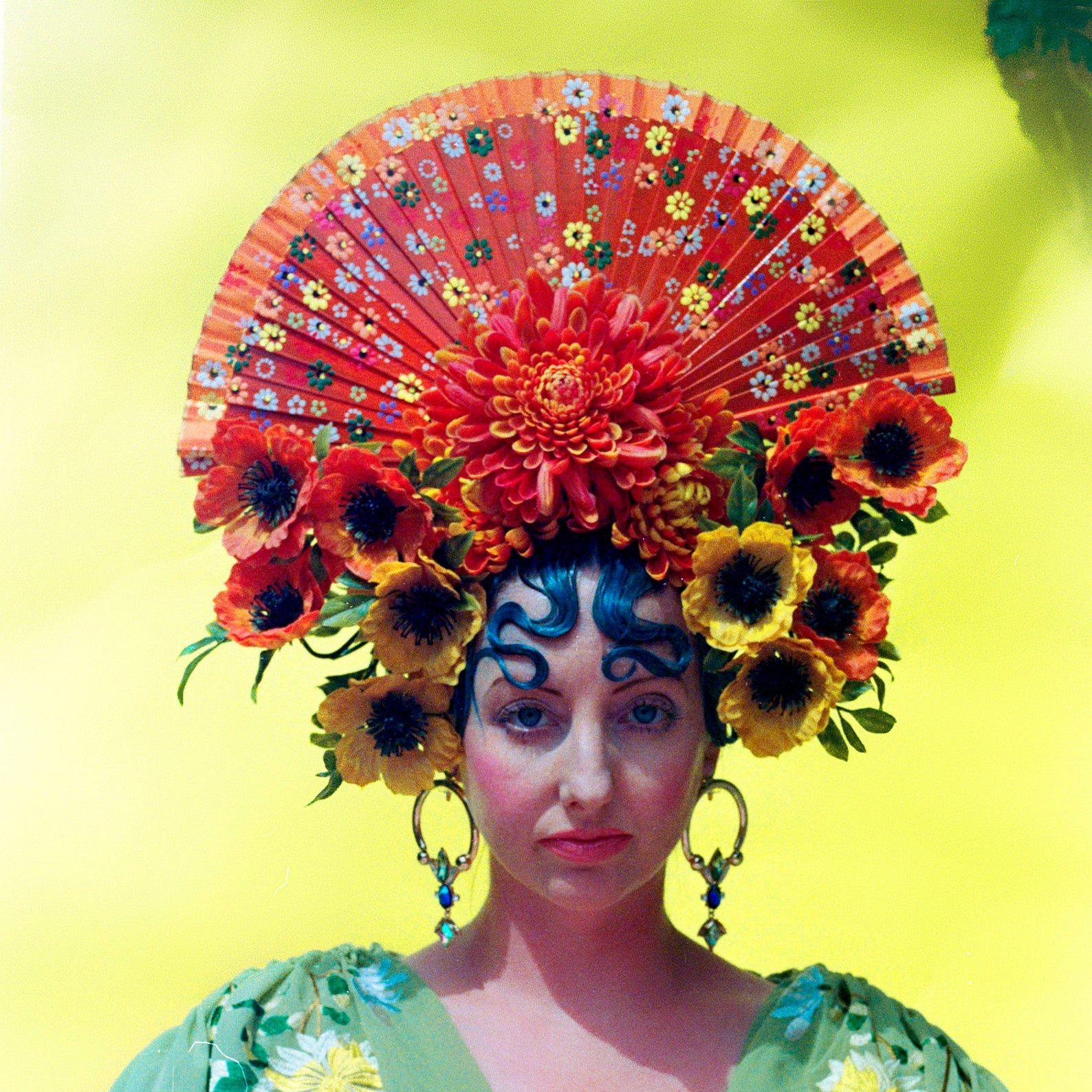 Fan shaped festival headpiece