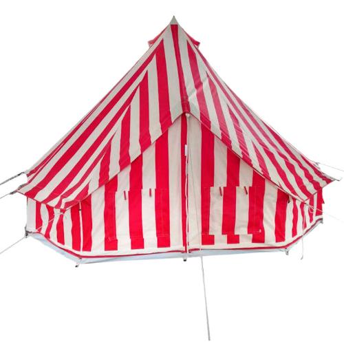 Stripy boutique festival bell tent