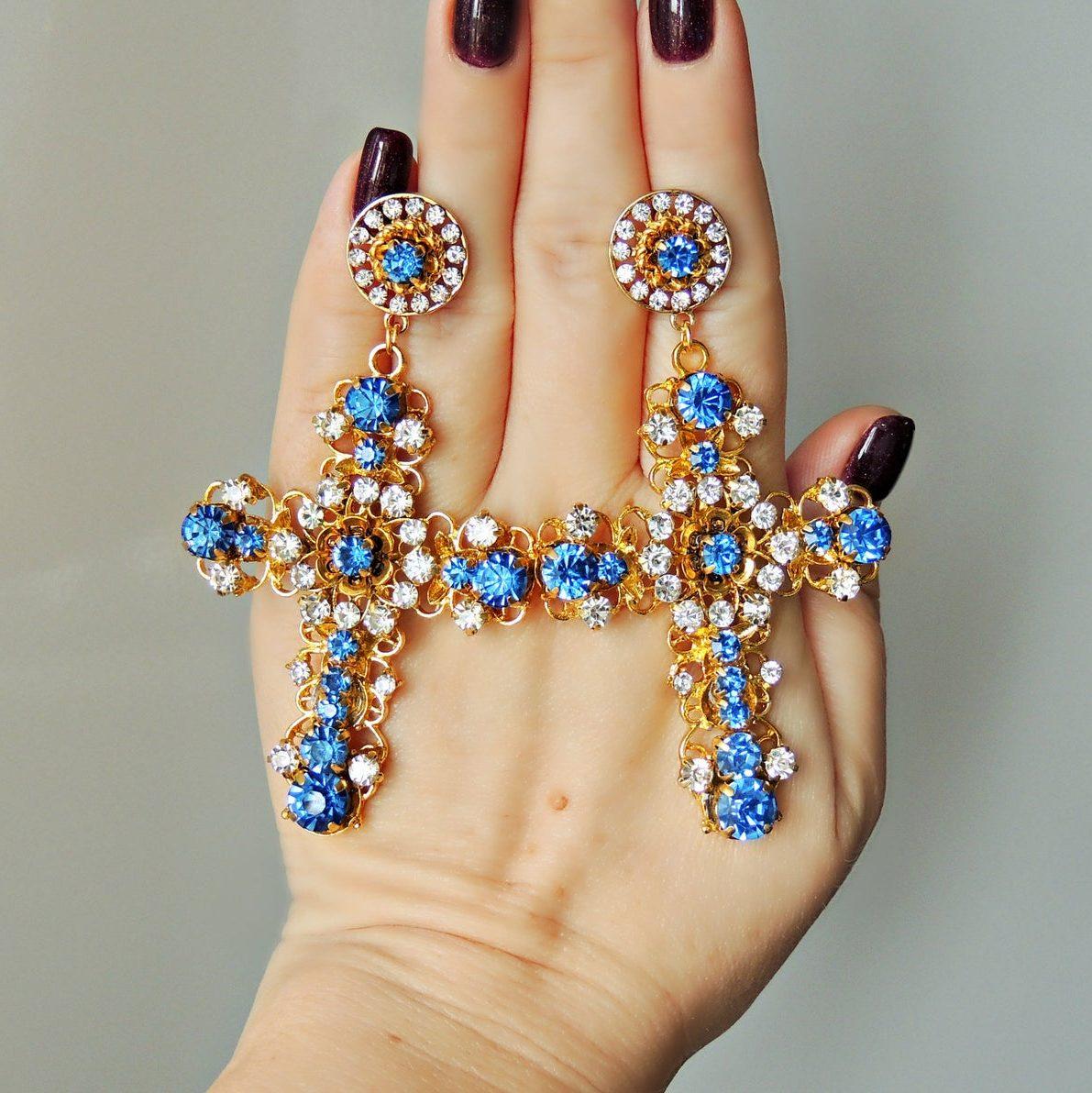 Maximalist Baroque cross earrings