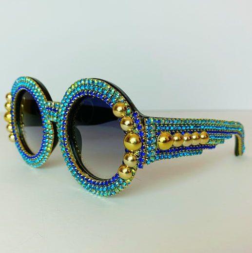 Embellished maximalist sunglasses